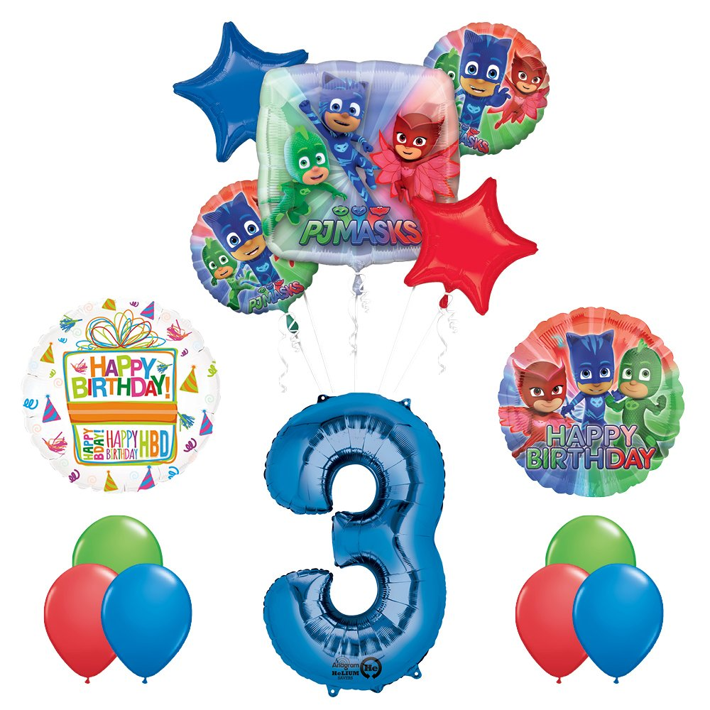 Mayflower Products The Ultimate PJ MASKS 3rd Birthday Party Supplies and Balloon decorations