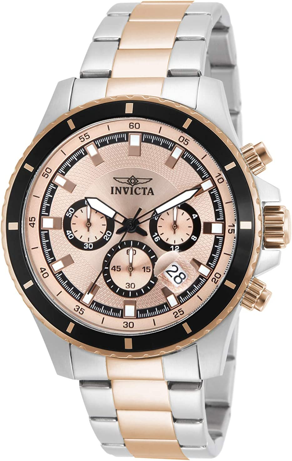 Invicta Men s 12457 Pro Diver Chronograph Rose Tone Textured Dial Stainless Steel Watch
