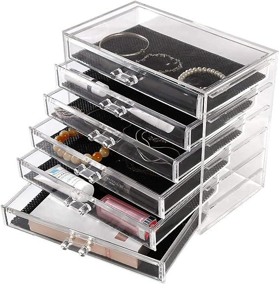 Rangement de Maquillage Pinceaux 3 Tiers Tirois 4 Couches de Rangement Seelux Organisateur de Maquillage Plastique Transparent
