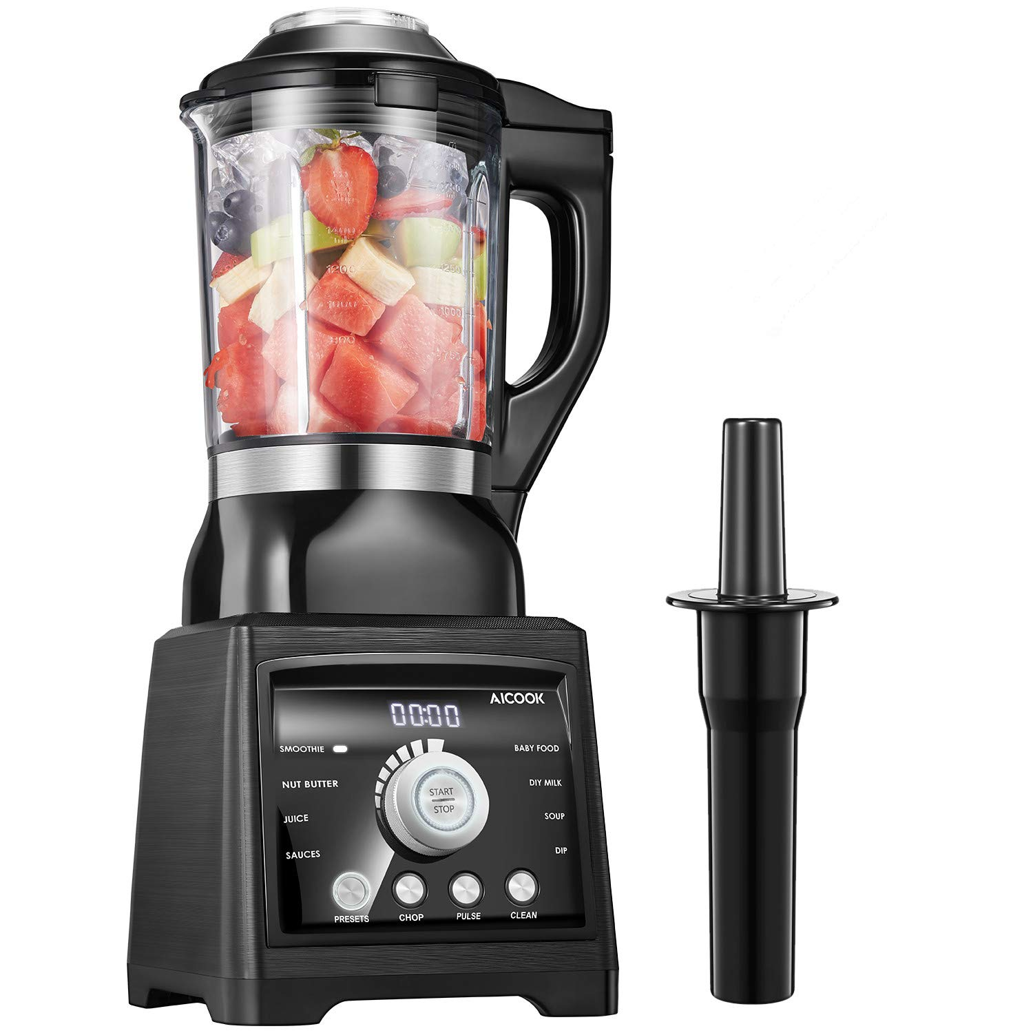 Smoothie Blender Aicook 1400W Professional Heating Blender with 60oz Glass Pitcher, Multifunctional Countertop Blender with 8 Programs and 7 Variable Speed for Smoothies, Ice, Frozen Fruit and Soup