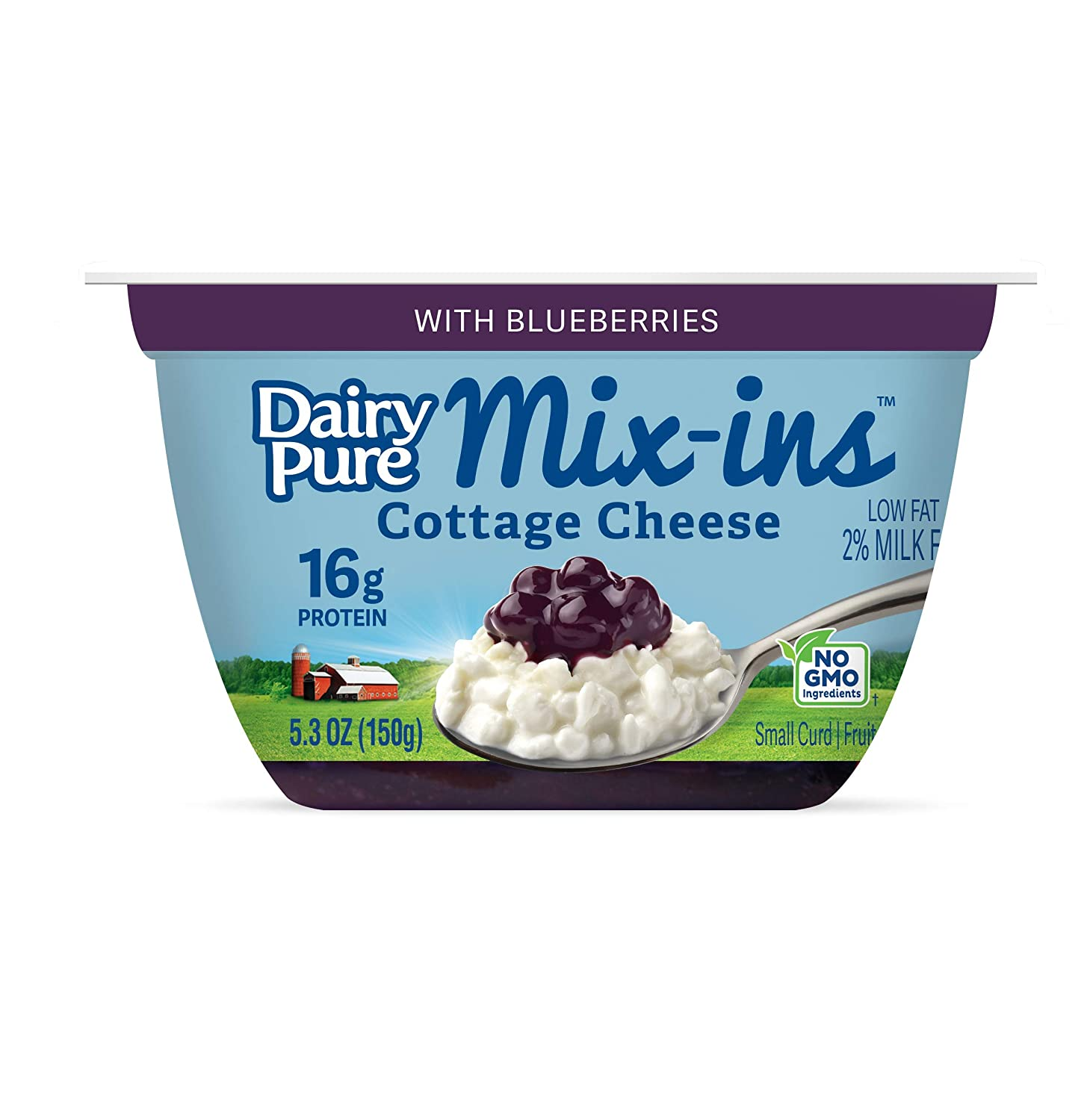 Astonishing Dairypure Mix Ins Low Fat Cottage Cheese With Blueberries 5 3 Oz Cup Home Interior And Landscaping Oversignezvosmurscom