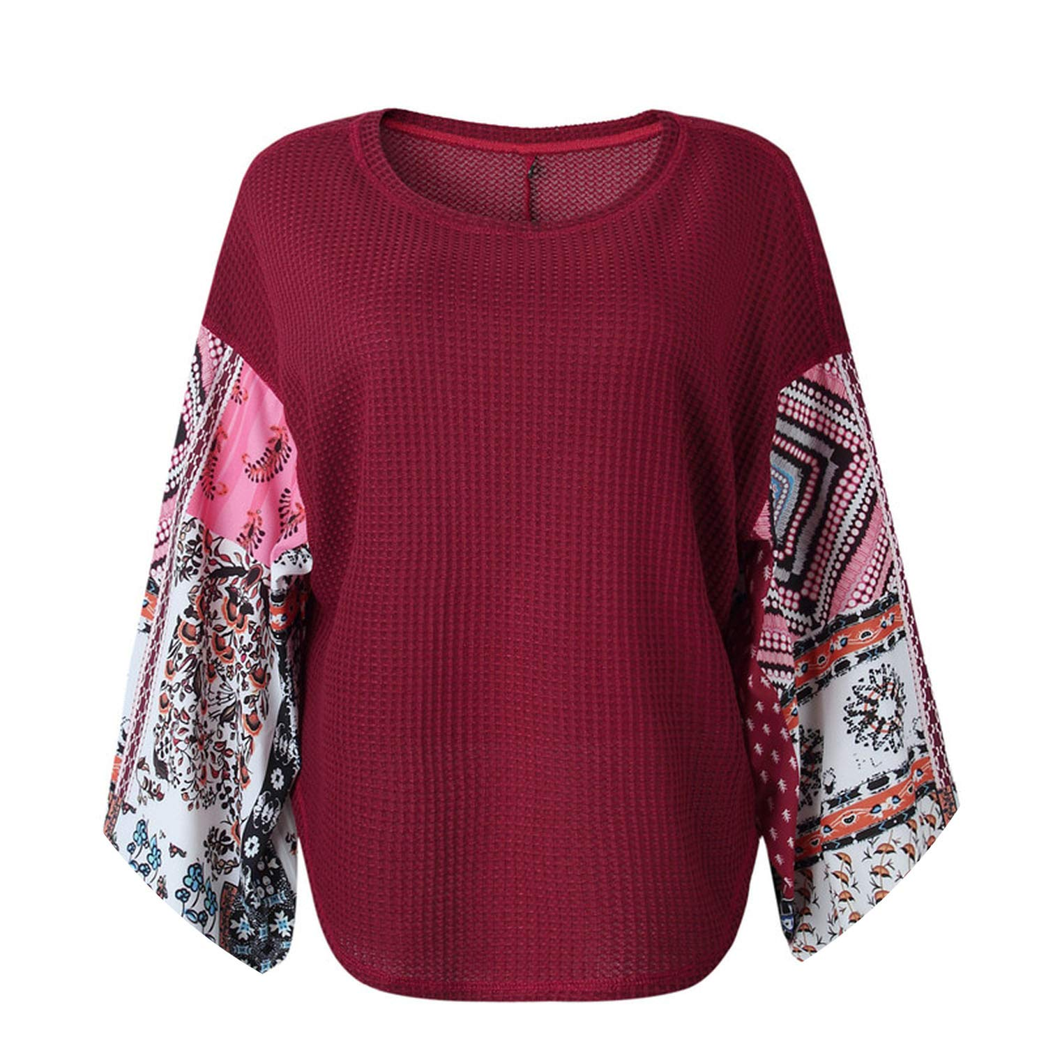 Women Pullovers Autumn Knitted Sweater Boho Printed Long ...