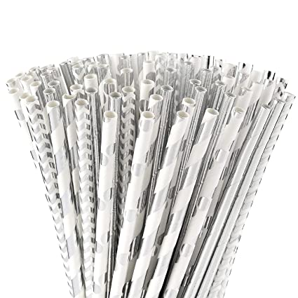 ALINK Biodegradable Silver Paper Straws Bulk, Pack of 100 Metallic Foil  Striped/Wave/Dots Straws for Birthday, Wedding, Bridal/Baby Shower,