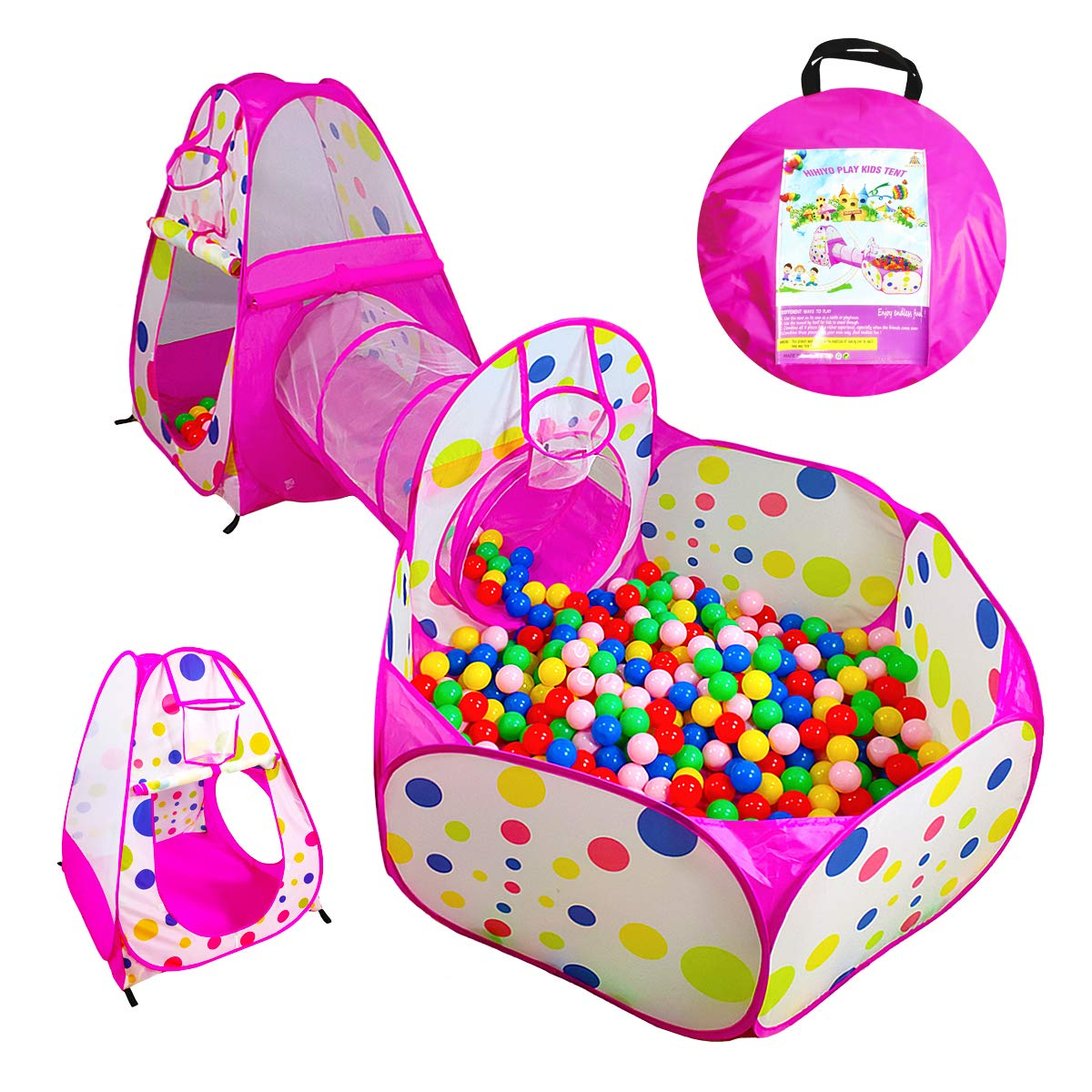 HIHIYO 3pc Kids Castle Space Tent Tunnel and Ball Pit Popup Playhouse for Girls Boys Child Gift for Birthday Toddlers and Indoor Outdoor Use with Carrying Case