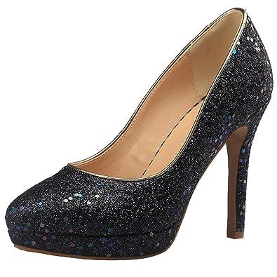 0a32b9955ed Artfaerie Women s Stiletto High Heel Court Shoes Glitter Pumps Platform  Wedding Shoes(US 4