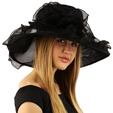 0ee893db08227 Elegant Kentucky Derby Floppy Ruffle Organza Pleated Flowers Church Hat  Black at Amazon Women s Clothing store