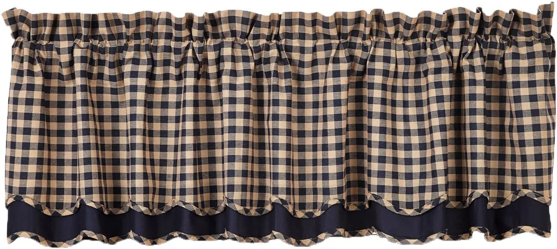 VHC Brands Classic Country Primitive Kitchen Window Curtains – Check Blue Scalloped Valance, Navy