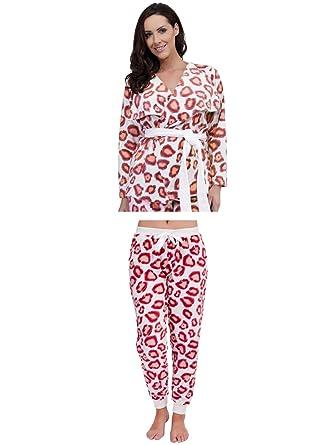 Womens Luxury Leopard Nightwear Range Pyjama Set Pjs Pj s Robes Dressing  Gowns Ladies Xmas Gift Present Size UK 8-18  Amazon.co.uk  Clothing 1ce04820d
