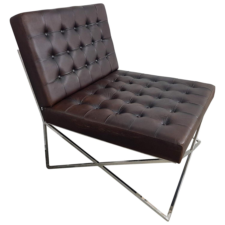 indoortrend. com Club de Lounge de sillón Negro marrón Piel ...