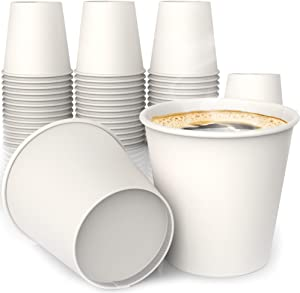 4 oz White Paper Cups (50 ct) - hot Beverage Cup for Coffee Tea Water