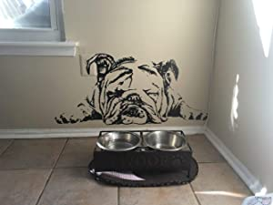 "English Bulldog Decal English Bulldog Sticker Dog Sticker Dog Decal Lazy Dog Sleeping Dog Cute Puppy Wall Art Stickers Tr259 (15"" X 33"")"