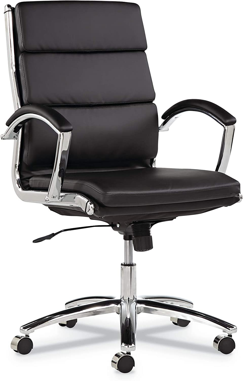 Alera ALENR4219 Neratoli Series Mid-Back Swivel/Tilt Chair, Black Leather, Chrome Frame