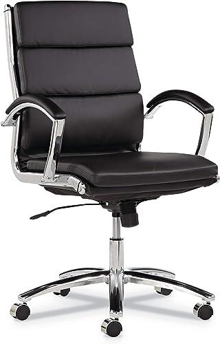 Alera Neratoli Series Mid-Back Swivel Tilt Chair, Black Leather, Chrome Frame