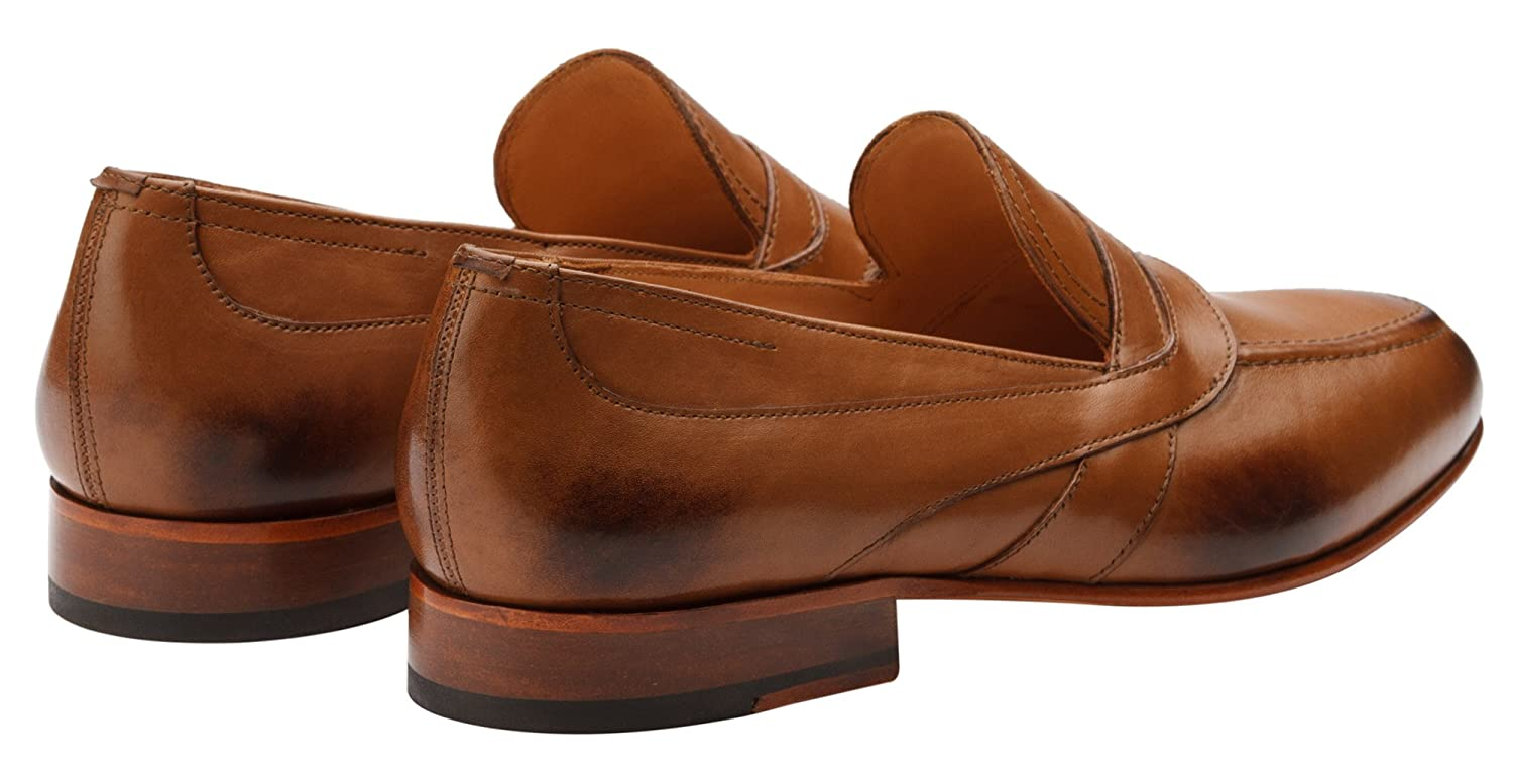 3DM Lifestyle Mens Penny Slip-On Modern Classic Leather Lined Perforated Loafer Dress Shoes