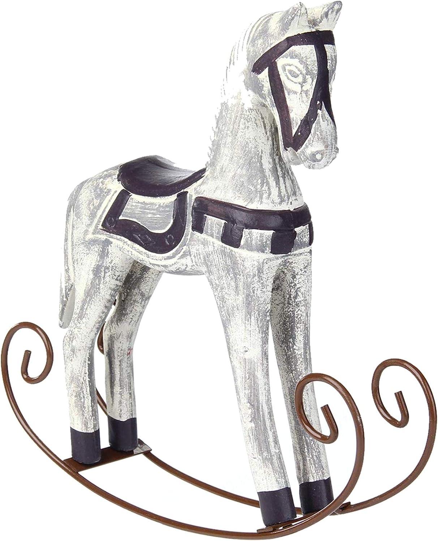 LNIEGE Mecedora Crafts Caballo Escultura Estatua -Mediterráneo Estilo Noble Elegante Caballo de Madera para Regalos de decoración del hogar Tabla de la Oficina Adornos