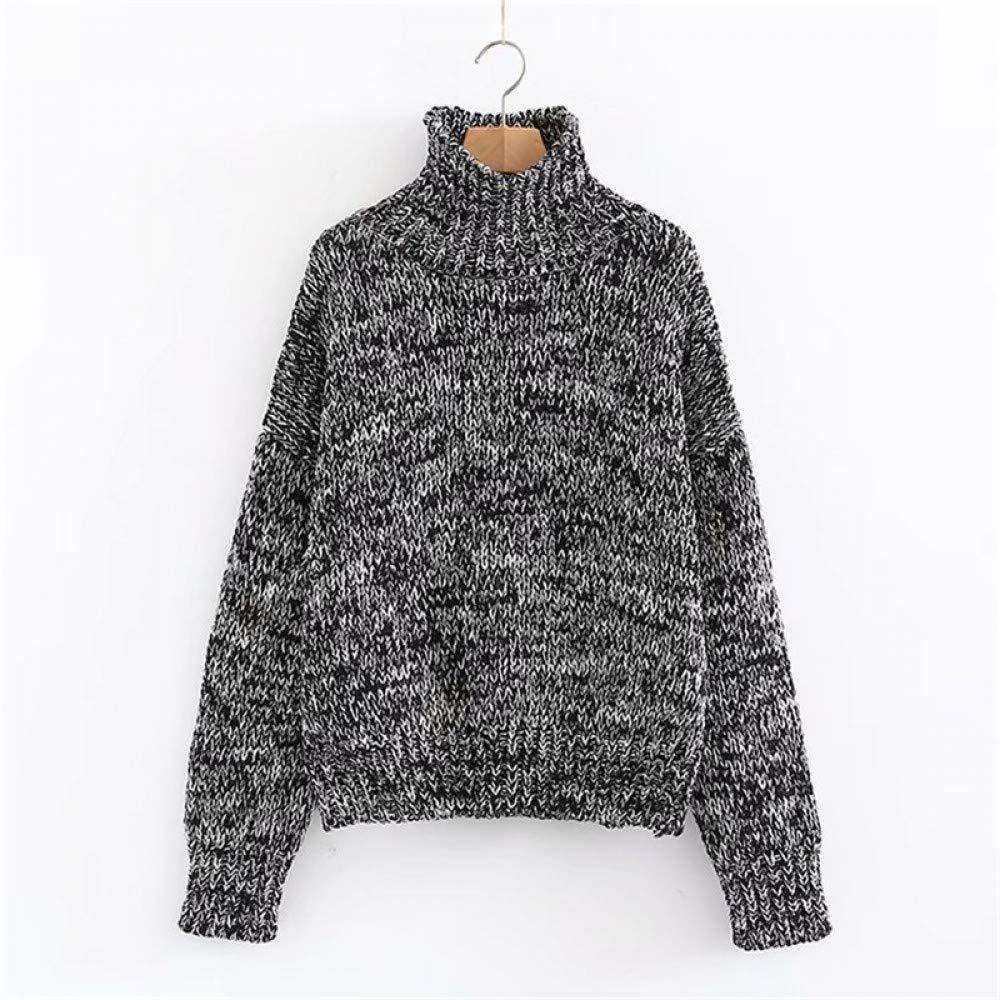 FUHENGMY Pullover OverGrößed Herbst Frauen Rollkragen Vintage Dicken Pullover Tops Lose Langarmshirts Frauen Gestrickte Pullover Pullover