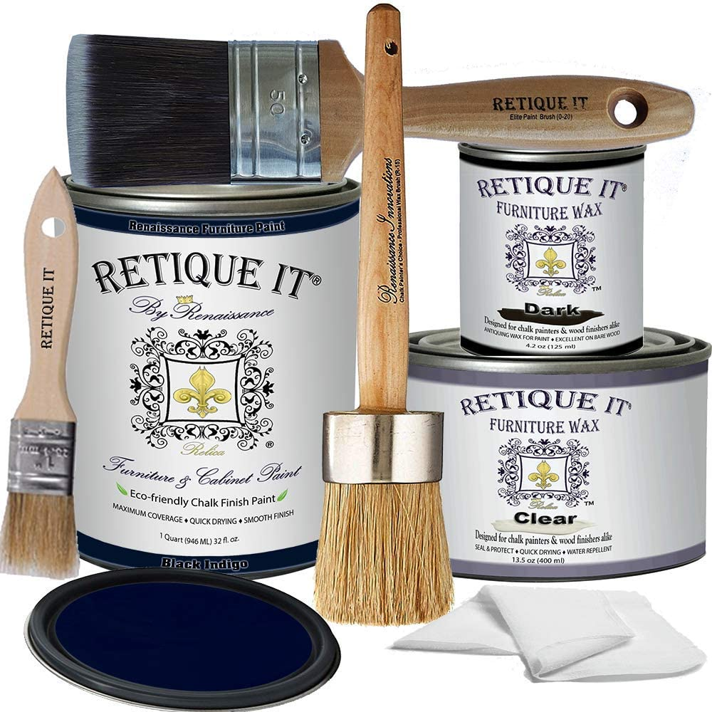 Retique It Chalk Furniture Paint by Renaissance Deluxe Starter Kit, Wax, 45 Black Indigo