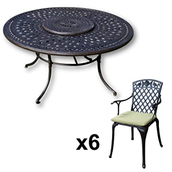 Lazy Susan - Table ronde 150 cm FRANCES, 6 chaises de jardin et ...