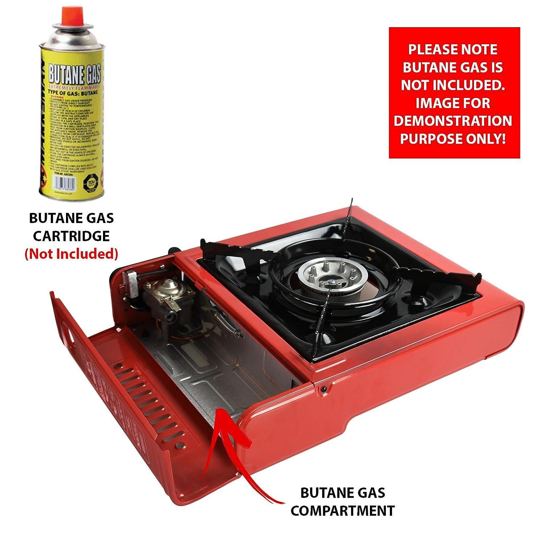 Hornillo de gas butano portátil Asab con un solo quemador, sistema de encendido automático, soporte esmaltado para sartenes, estuche de transporte, ...