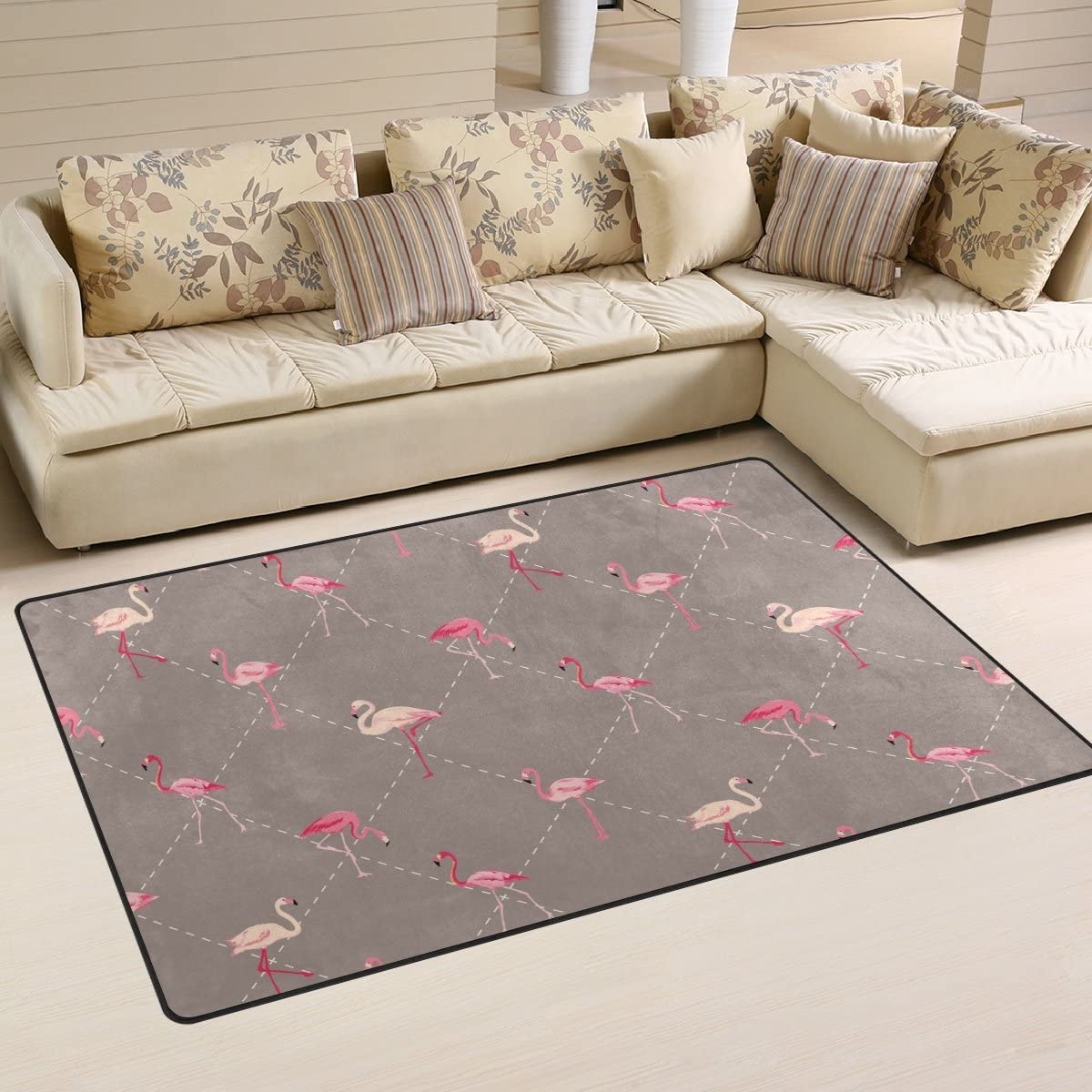 Sunlome Pink Flamingo Geometry Brown Area Rug Rugs Non-Slip Indoor Outdoor Floor Mat Doormats for Home Decor 60 x 39 inches