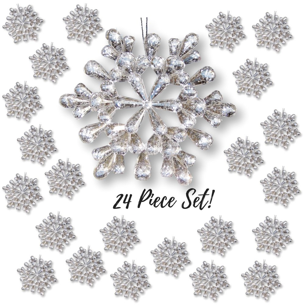 "Snowflake Ornaments – Set of 24 Clear Glitter Acrylic Snow Flakes – Christmas Snowflake Ornament Set – 4 ½"" Diam. – Snowflake Decorations for Windows"