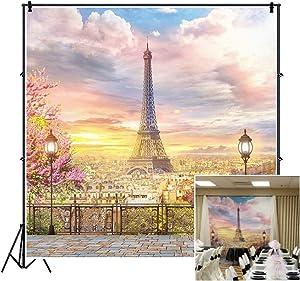 CSFOTO 5x5ft Eiffel Tower Backdrop Balcony Overlook Paris Streetscape Wedding Background Valentine's Day Backdrop Wedding Party Decor Banner Children Girls Lover Vacation Photo Wallpaper