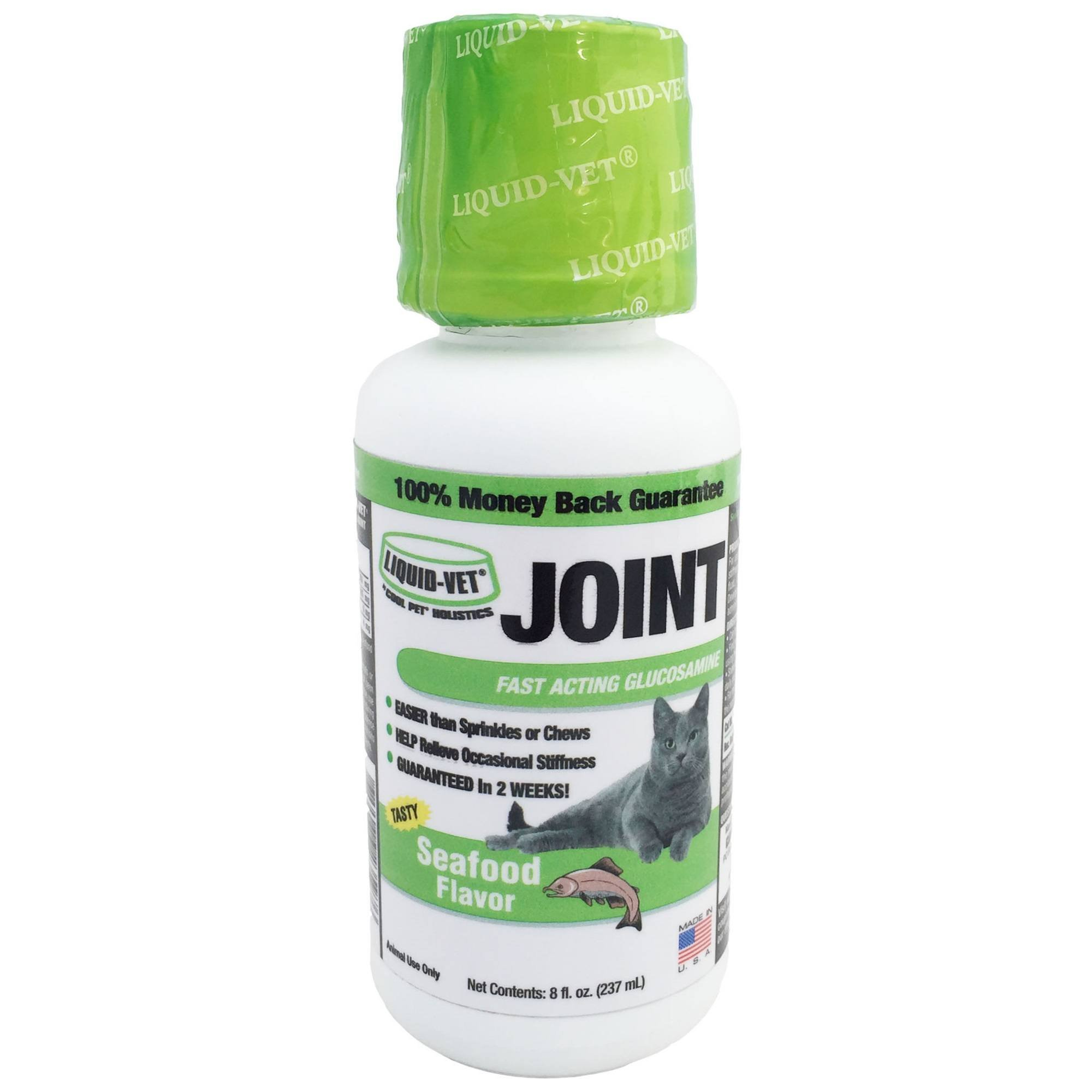 Liquid-Vet Cat Joint Formula – Fast Acting Glucosamine for Joint Aid in Felines – Seafood Flavor – 8 Fluid Ounces