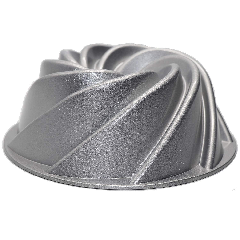Cake Baking Pans Mold Heavy Cast Aluminum Bakeware Windspout Bundt Pan 9 Silver