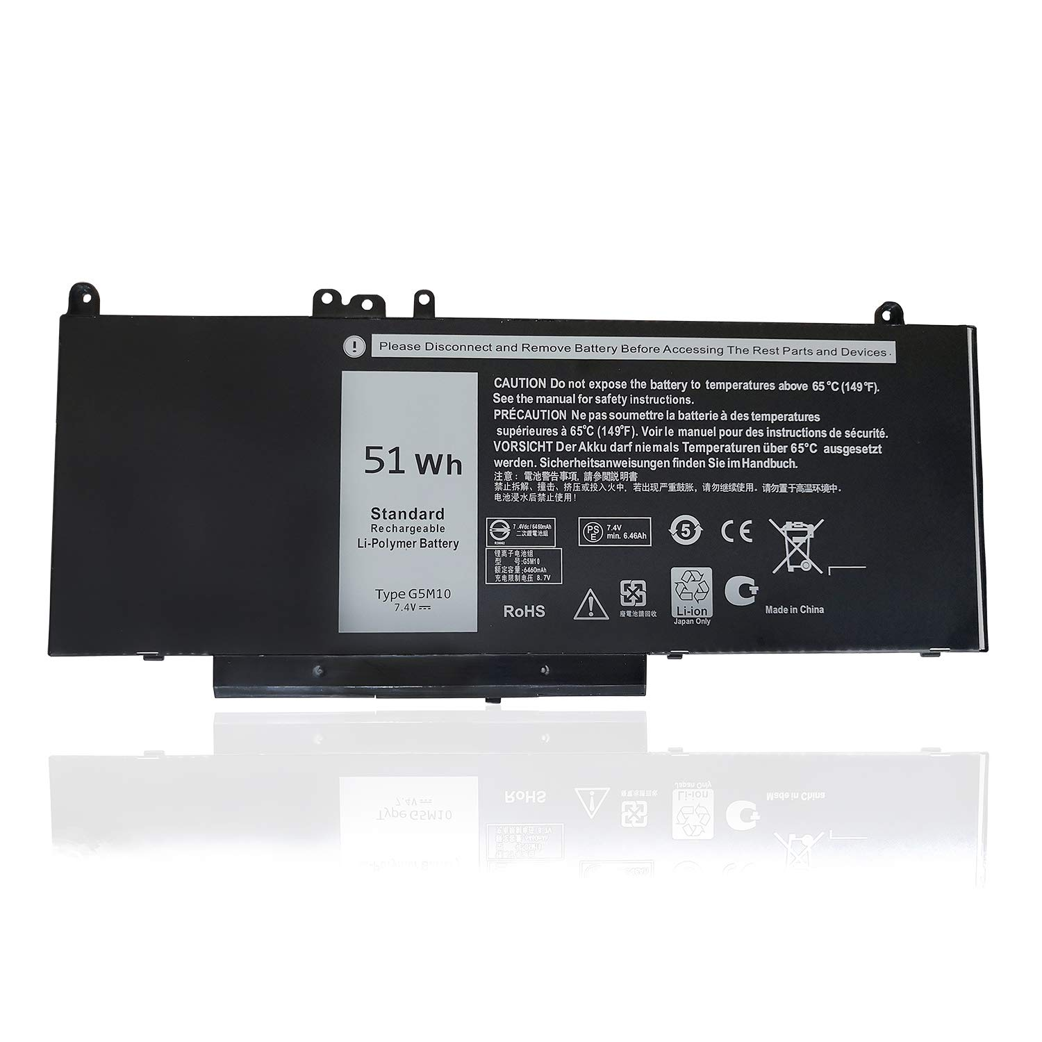 G5M10 Battery,Texmiy Replacement Laptop Battery Compatibale with Dell Latitude E5450 E5550 Notebook 15.6'', Fit for 8V5GX R9XM9 WYJC2 1KY05 - [7.4V 51Wh]
