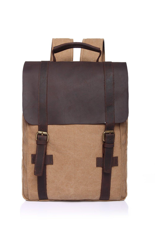 MUMUWU Men's Shoulder Bag Retro Canvas Bag Crazy Horse Leather Leisure Men Bag Shoulder Computer Backpack Student Bag (Color : Beige, Size : M)