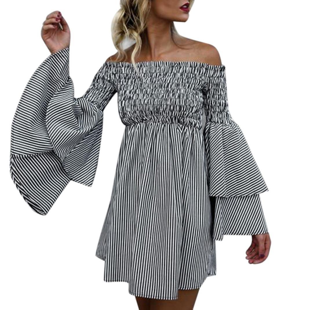 Mysky Women Clearance, Womens Sexy Holiday Off Shoulder Stripe Flared Sleeve Party Dress Long Sleeve Summer Dress (Black, XL)