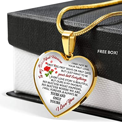 Amazon To My Fiance Necklace Heart Show Your Love Silver Gold Plated