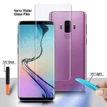 SANCHAR'S Galaxy S9 Plus Screen Protector Tempered Glass, Olesit [Liquid  Dispersion Tech] 2 5D Round Edge Tempered Glass Screen Protector with UV