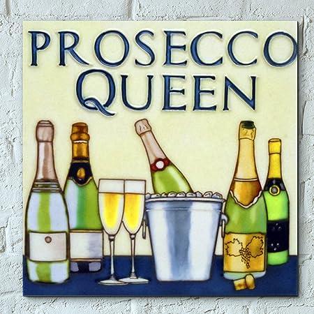 Prosecco Queen 8x8 Decorative Ceramic Picture Tile Art Wall Plaque ...