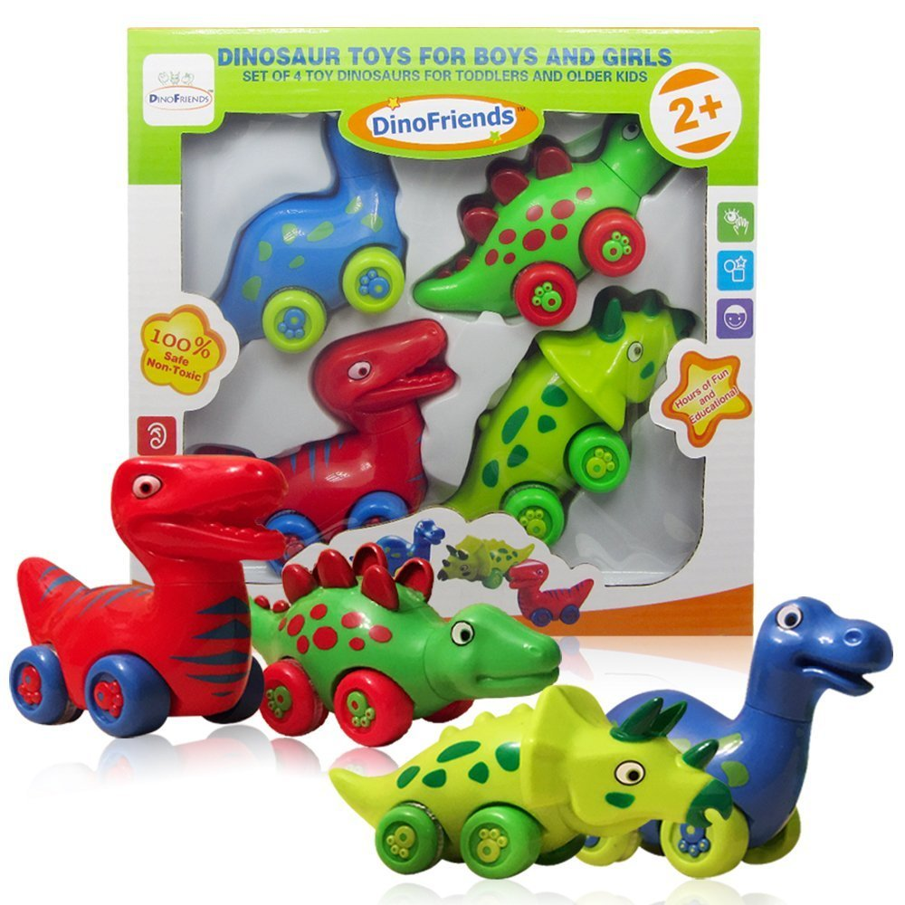 amazoncom 3 bees me dinosaur toys for boys and girls toddlers and older kids set of 4 toy car dinosaurs toys games