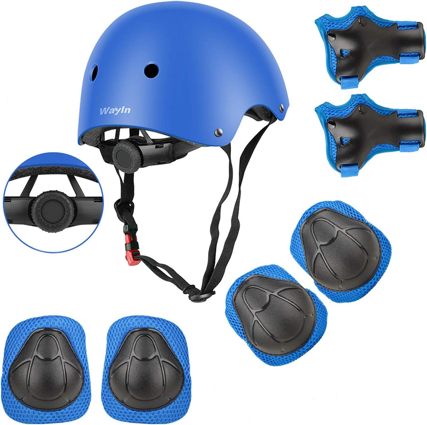 Wayin Conjuntos de Patinajes Niños Protecciones Patines Infantiles con Casco Ajustables Rodilleras y Coderas para Skate Bicicleta Monopatín Deporte