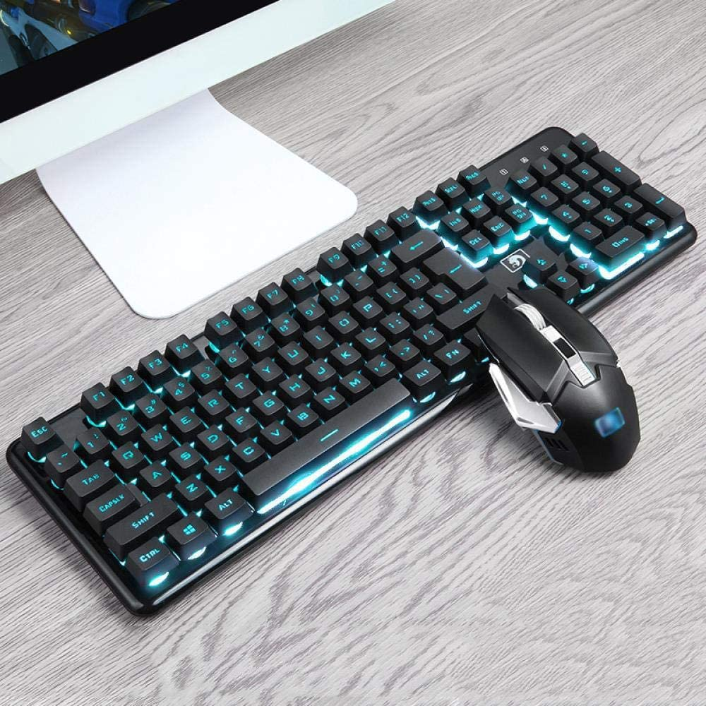 A Wireless Keyboard and Mouse Set Rechargeable Mute Mechanical Hand Feel Notebook Desktop Computer External