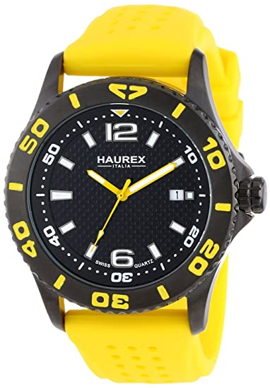 RELOJ para HOMBRE HAUREX ITALY 3N500U FACTOR BLACK ION-PLATED COATED STAINLESS STEEL ROTATING BEZEL