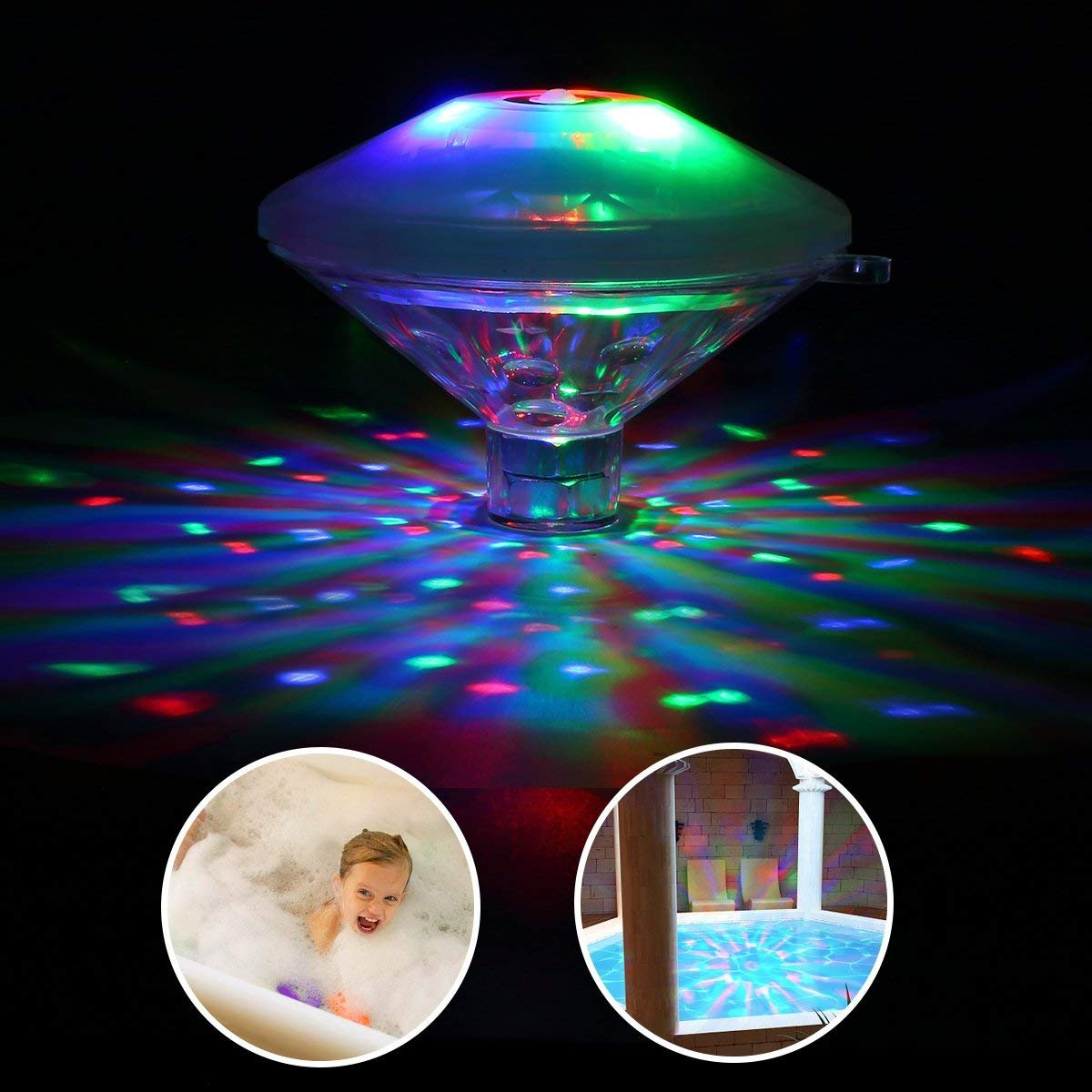 Batteries Included Party in The Tub FLASHDOG 2 Pack Kids LED Light Up Bath Toys Party in The Tub Water Light Show for Kid Bathing Tub or Swimming Pool Game