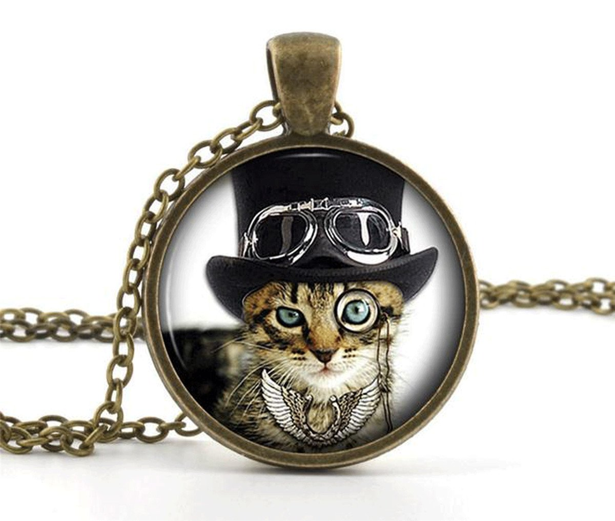 Cool Cat Picture Pendant Necklace - Steampunk Funny Glass Kitten Kitty Jewellery 3