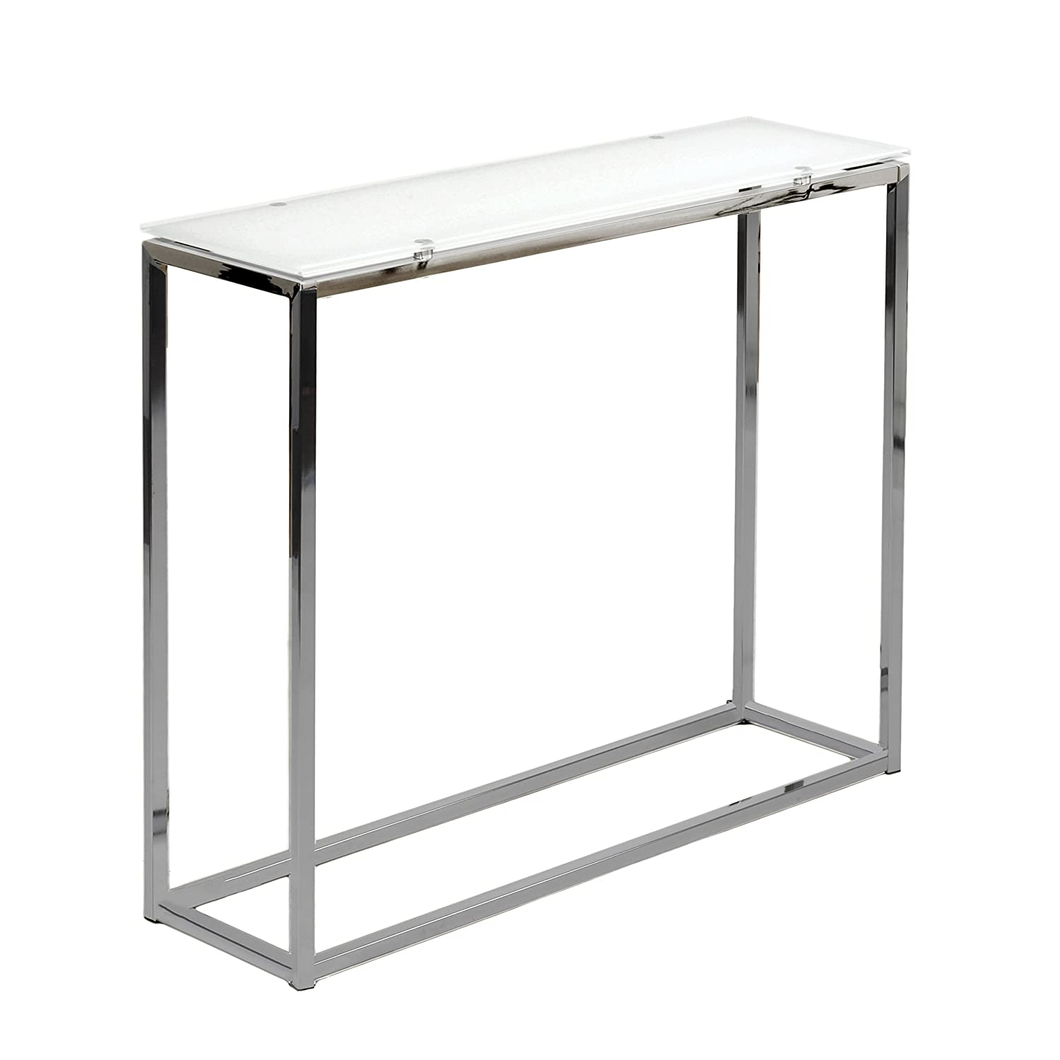 Euro Style Sandor Clear Glass Top Console Table, Chromed Steel Base Euro Style - DROPSHIP 28033