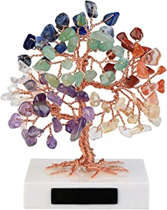 Top Plaza 7 Chakra Reiki Healing Crystals Copper Money Tree Wrapped On Marble Base Feng Shui Luck Figurine Art Decor for Home Office Living Room