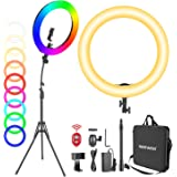 """Neewer 18"""" RGB Ring Light with Stand, 42W Dimmable LED Ring Light with Phone Holder/Bi-Color 3200K–5600K/95+ CRI/0–360° Full"""