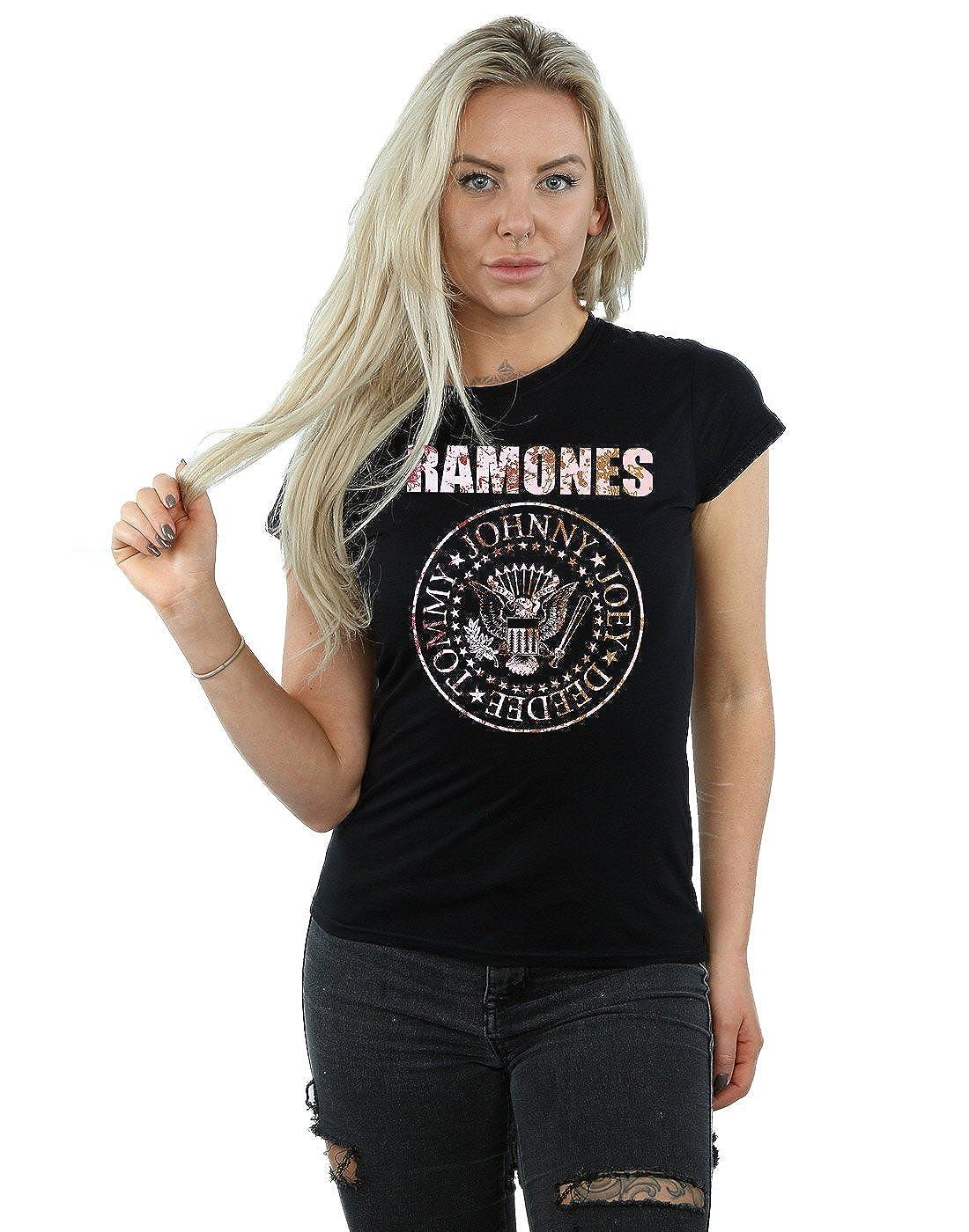 TALLA L. Ramones Mujer Flower Rose Camiseta