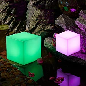 Party LED Luminous Square Stool Courtyard lamp Outdoor Indoor Night Light Cube Led Furniture Light Chair/Table for Home/Bar/Night Club/Party Decorative Lamp Up Birthday Mood Lamps