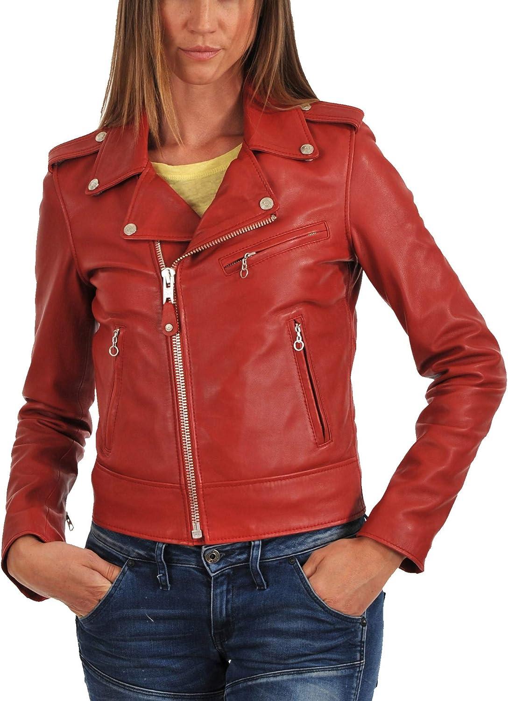 Aaron Craft Womens Lambskin Leather Bomber Biker Jacket