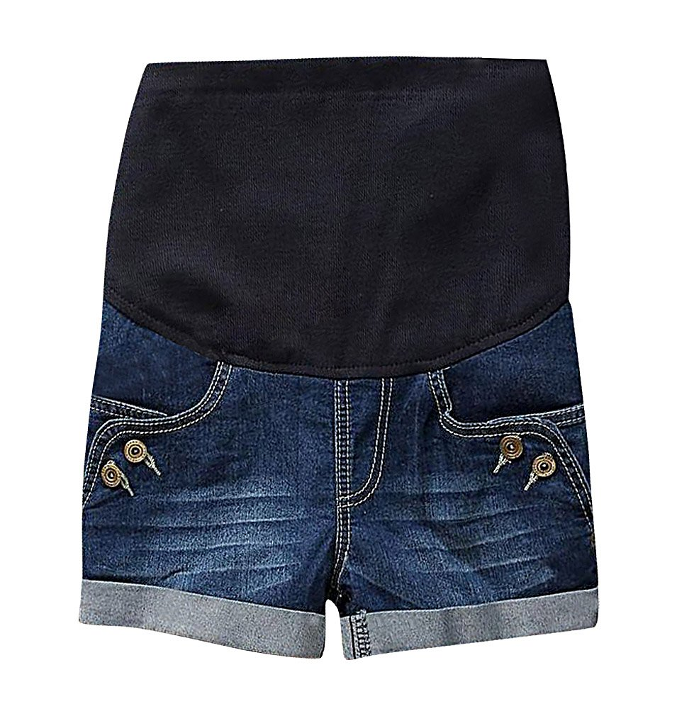 MTRNTY Women's Maternity Casual Elastic Waist Denim Shorts Blue Jeans Buttons, Medium