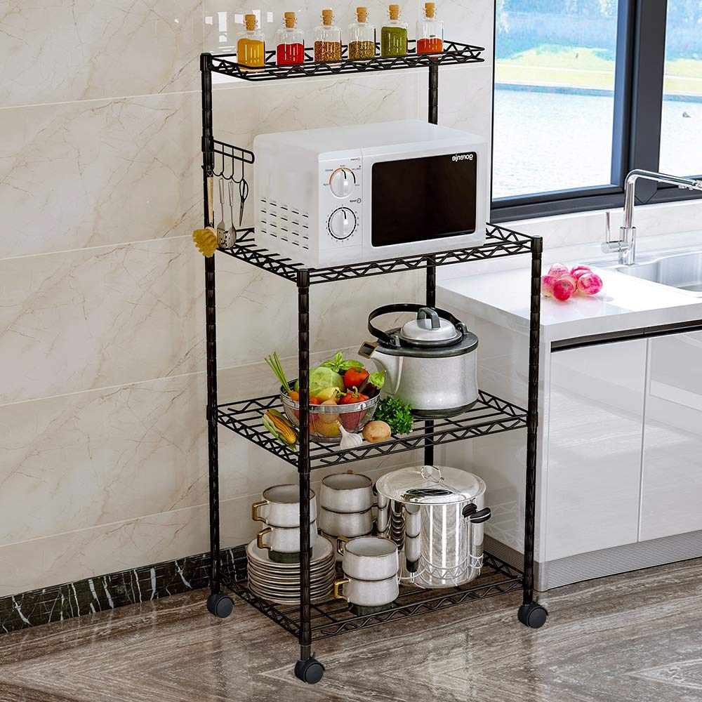LENTIA 4-Tier Baker's Rack Microwave Stand Kitchen Oven Rack with Wire Mesh Shelves 4-Side Hooks 4 Wheel Casters & Adjustable Leg Plug by LENTIA