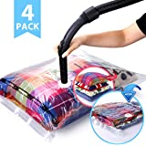 VICOODA Space Saver Vacuum Bags, Vacuum Seal Storage Bags for Clothes & Comforters, Double Zip Seal, Odour & Mold Resistant, Travel Hand Pump Included, 4 Pack