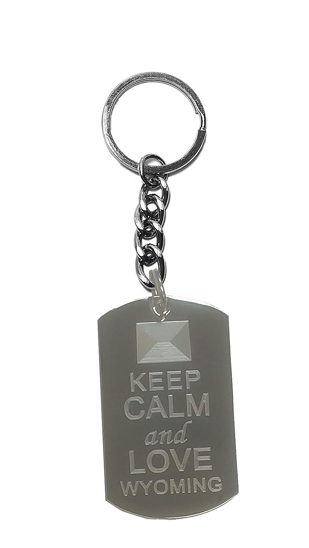 Hat Shark Keep Calm and Love Wyoming State Logo Metal Ring Key Chain Keychain